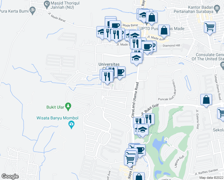map of restaurants, bars, coffee shops, grocery stores, and more near Jalan Waterpark Boulevard in Kota Surabaya