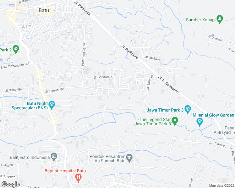 map of restaurants, bars, coffee shops, grocery stores, and more near Jalan Damun in Batu