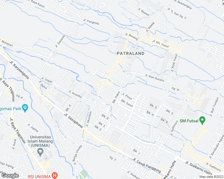 map of restaurants, bars, coffee shops, grocery stores, and more near Jalan Akordeon in Kota Malang