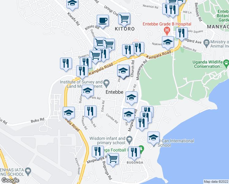 map of restaurants, bars, coffee shops, grocery stores, and more near Gowers Road in Entebbe