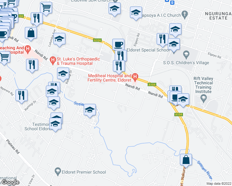 map of restaurants, bars, coffee shops, grocery stores, and more near State Lodge Drive in Eldoret