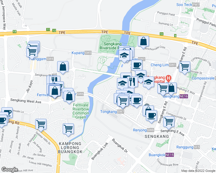 map of restaurants, bars, coffee shops, grocery stores, and more near in Singapore
