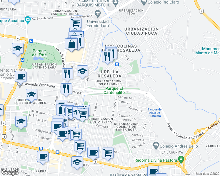 map of restaurants, bars, coffee shops, grocery stores, and more near Transversal 1 in Barquisimeto