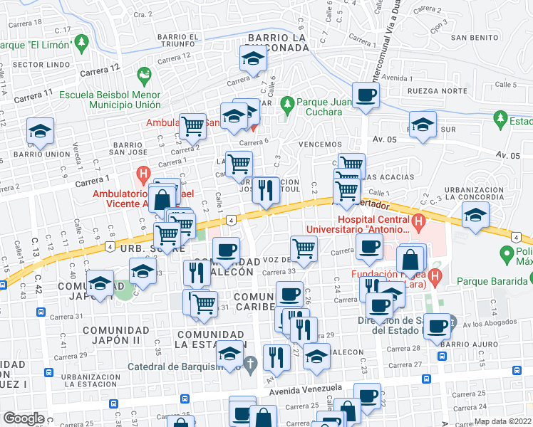 map of restaurants, bars, coffee shops, grocery stores, and more near Avenida Libertador in Barquisimeto