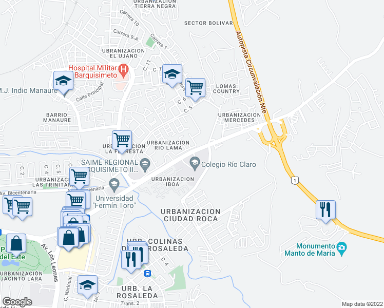 map of restaurants, bars, coffee shops, grocery stores, and more near Avenida Herman Garmendia in Barquisimeto