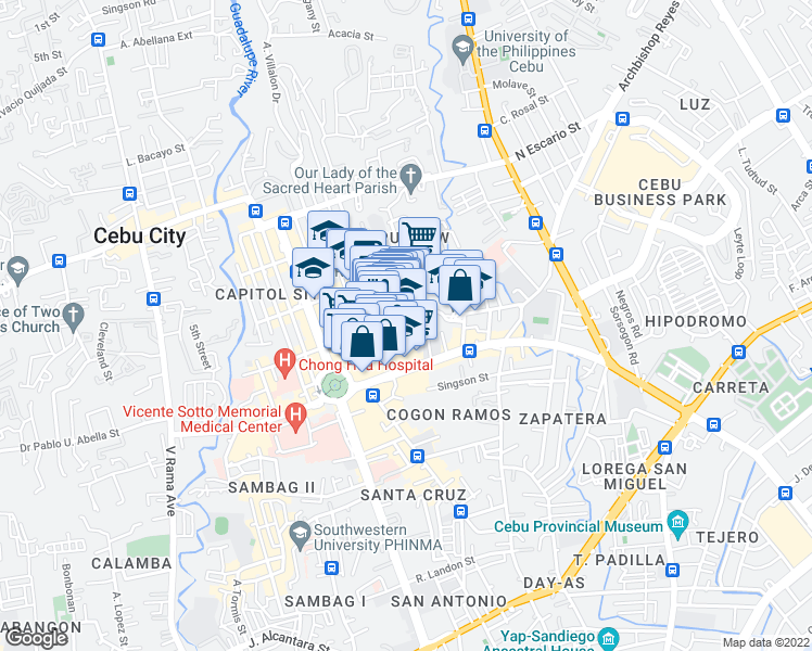 map of restaurants, bars, coffee shops, grocery stores, and more near Juana Osmeña Street in Cebu City