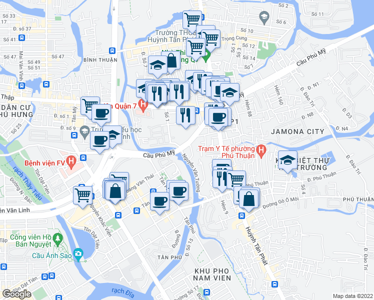 map of restaurants, bars, coffee shops, grocery stores, and more near Nguyễn Văn Tưởng in Quận 7