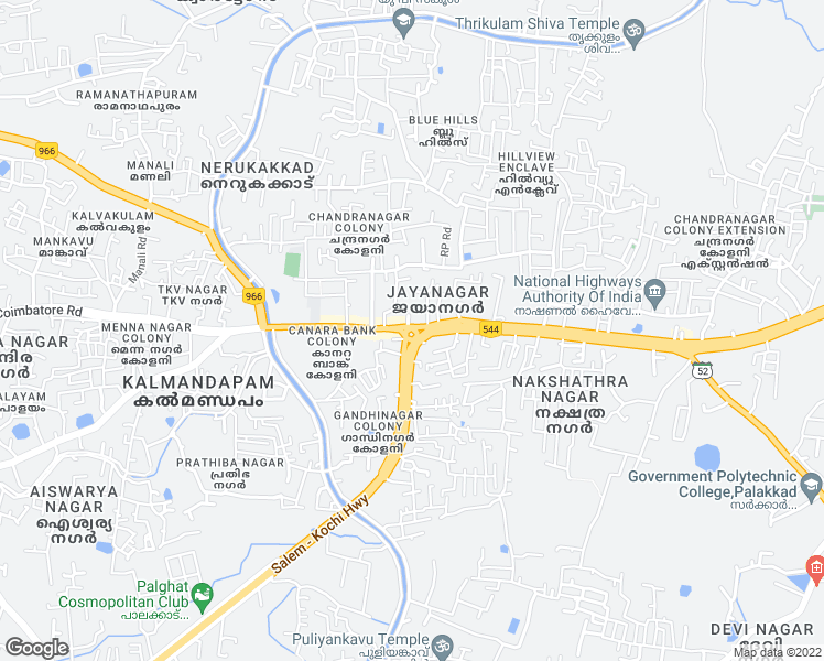 map of restaurants, bars, coffee shops, grocery stores, and more near in Palakkad
