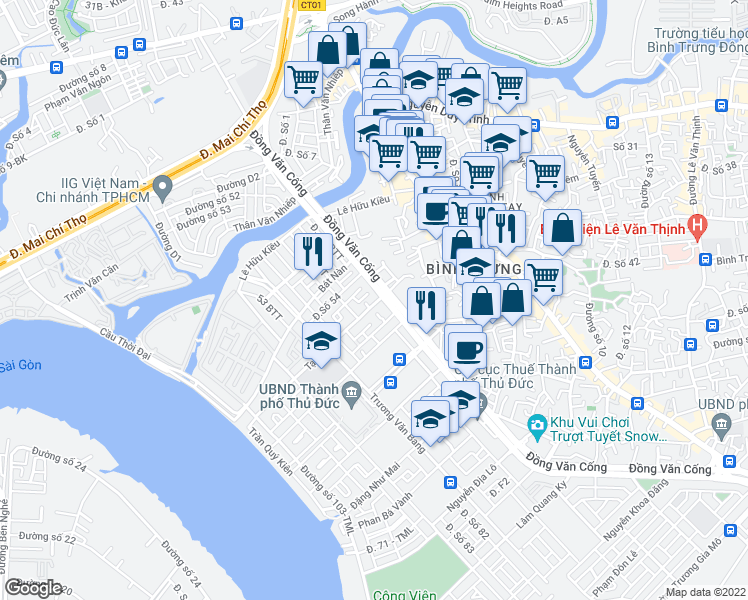 map of restaurants, bars, coffee shops, grocery stores, and more near 97 Tạ Hiện in Quận 2