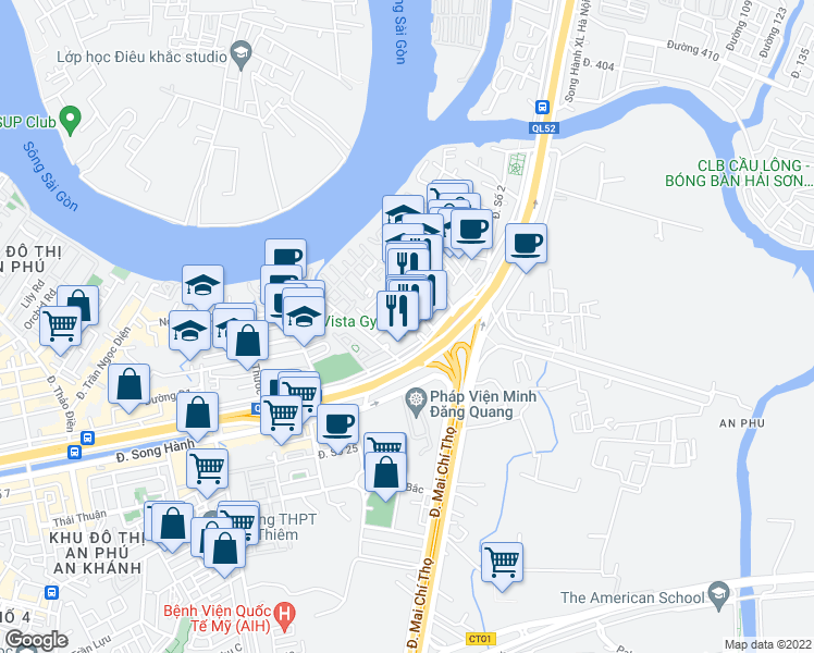 map of restaurants, bars, coffee shops, grocery stores, and more near in Hồ Chí Minh