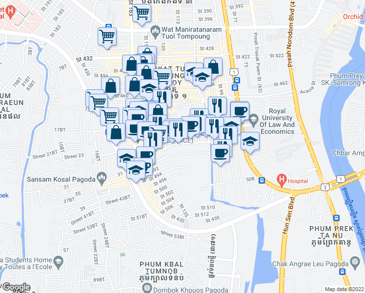 map of restaurants, bars, coffee shops, grocery stores, and more near 488 in Phnom Penh