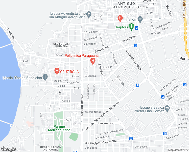map of restaurants, bars, coffee shops, grocery stores, and more near Calle España in Punto Fijo