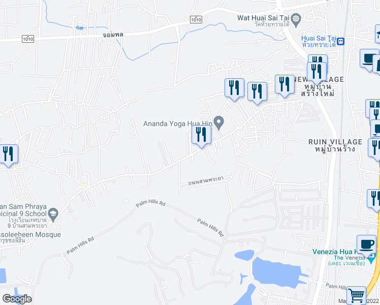 map of restaurants, bars, coffee shops, grocery stores, and more near Soi Mu Ban Avalon 2 in Tambon Cha-am