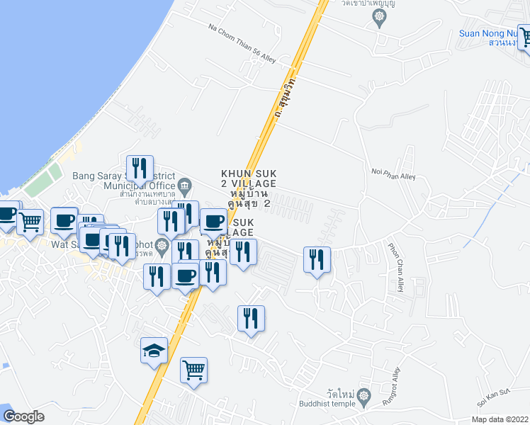 map of restaurants, bars, coffee shops, grocery stores, and more near Soi Mu Ban Khun Suk 2 in Tambon Bang Sare