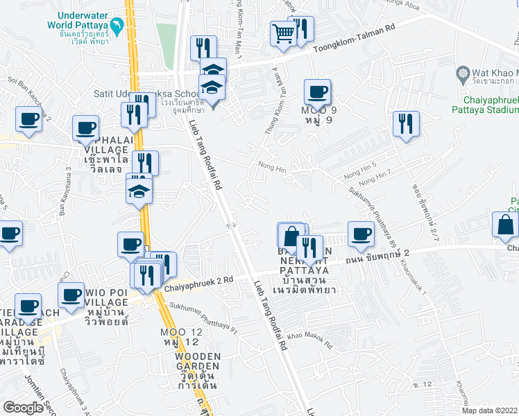 map of restaurants, bars, coffee shops, grocery stores, and more near Soi Nong Hin 2 in Muang Pattaya
