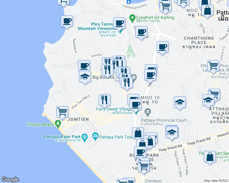 map of restaurants, bars, coffee shops, grocery stores, and more near Phra Tam Nak 5 in Muang Pattaya