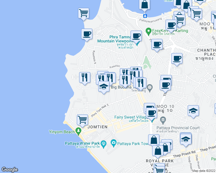 map of restaurants, bars, coffee shops, grocery stores, and more near 957 Phra Tam Nak 4 Alley in Muang Pattaya