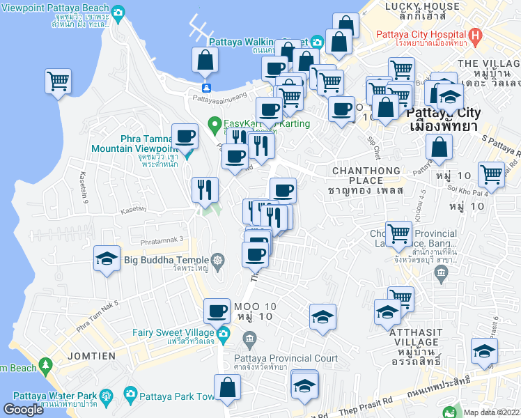 map of restaurants, bars, coffee shops, grocery stores, and more near in Pattaya City