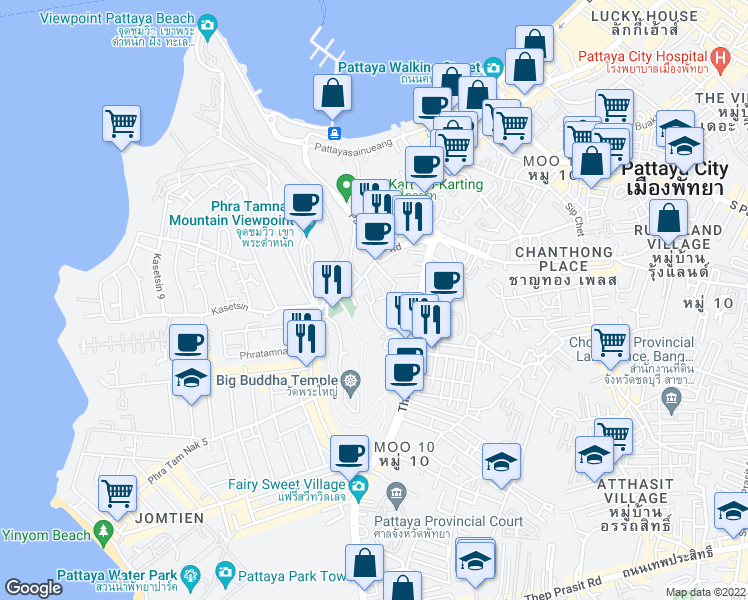 map of restaurants, bars, coffee shops, grocery stores, and more near Phratamnak 1 Alley in Muang Pattaya