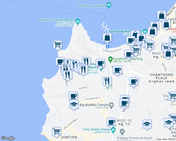 map of restaurants, bars, coffee shops, grocery stores, and more near Kasetsin 2 Alley in Muang Pattaya
