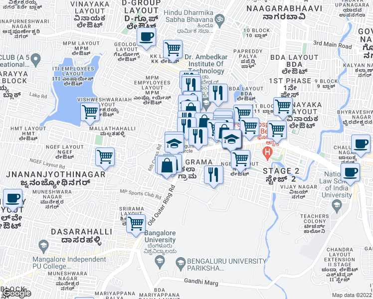 map of restaurants, bars, coffee shops, grocery stores, and more near 80 Feet Main Road in Bengaluru
