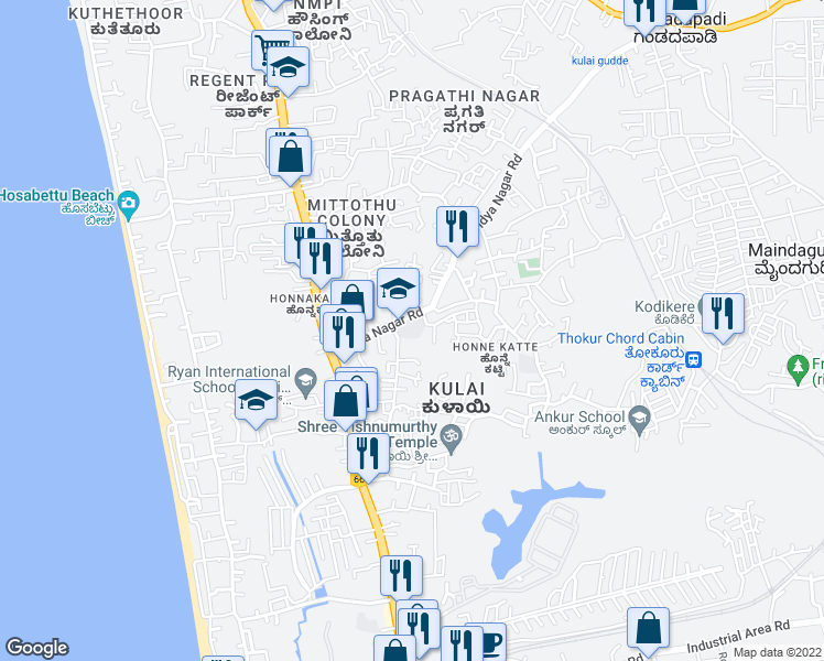 map of restaurants, bars, coffee shops, grocery stores, and more near Edapally - Panvel Highway in Mangalore