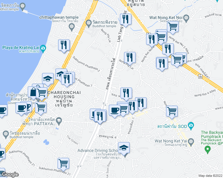 map of restaurants, bars, coffee shops, grocery stores, and more near in Nongplalai