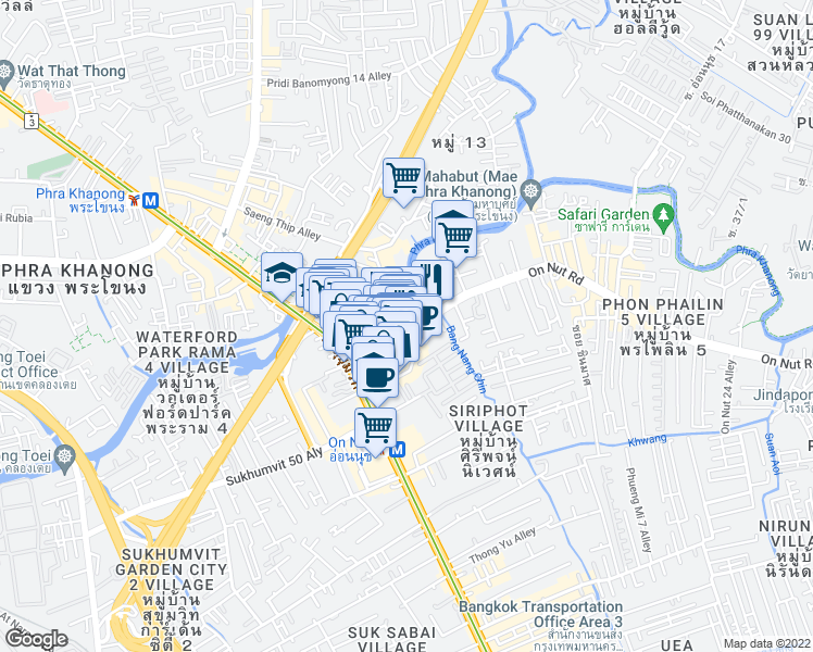 map of restaurants, bars, coffee shops, grocery stores, and more near 204/5 Sukhumvit Road in Bangkok