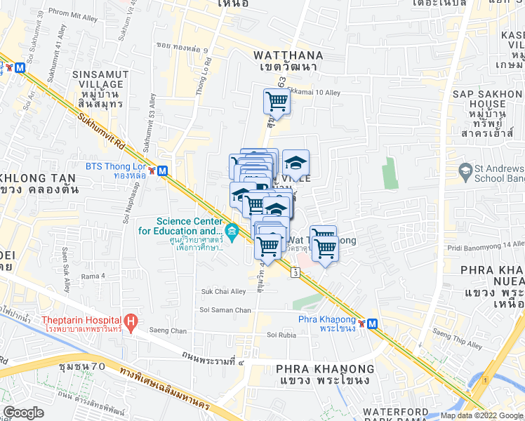 map of restaurants, bars, coffee shops, grocery stores, and more near 1325 Sukhumvit Road in Bangkok