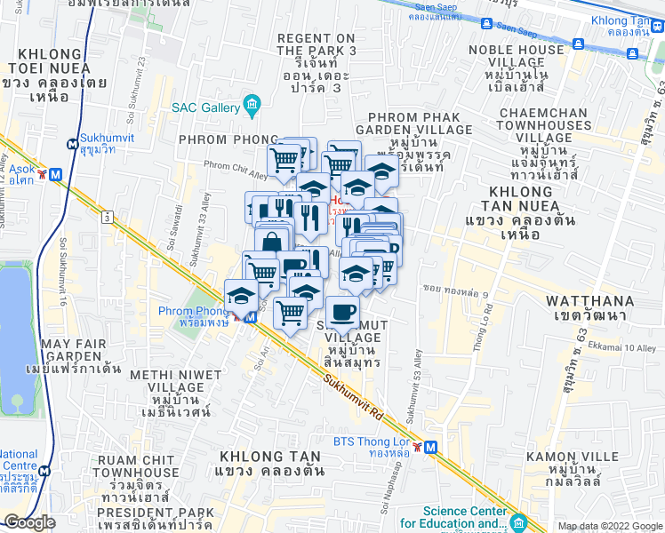 map of restaurants, bars, coffee shops, grocery stores, and more near 27 ถนน สุขุมวิท in Bangkok