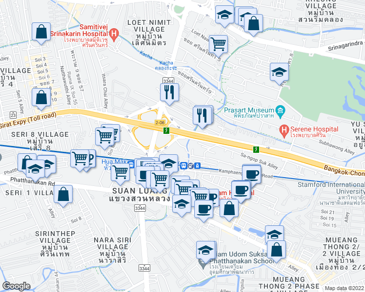 map of restaurants, bars, coffee shops, grocery stores, and more near 3344 in Bangkok