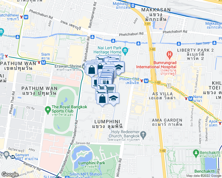 map of restaurants, bars, coffee shops, grocery stores, and more near 41 ซฮย หลังสวน in Bangkok