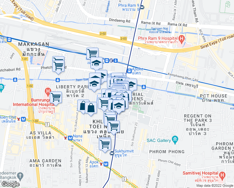 map of restaurants, bars, coffee shops, grocery stores, and more near 215 สุขุมวิท 15 in Bangkok