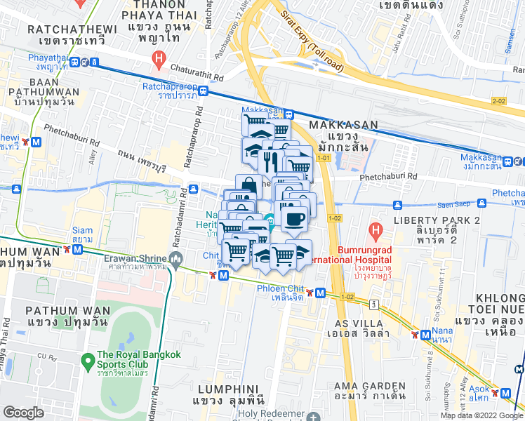 map of restaurants, bars, coffee shops, grocery stores, and more near in Bangkok