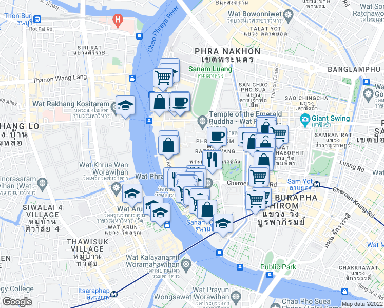 map of restaurants, bars, coffee shops, grocery stores, and more near Thanon Sanam Chai in Bangkok