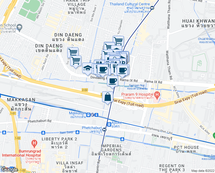 map of restaurants, bars, coffee shops, grocery stores, and more near 485/1 อโศก - ดินแดง in Bangkok