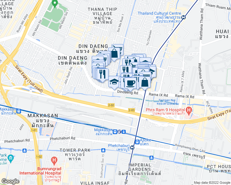map of restaurants, bars, coffee shops, grocery stores, and more near Thanon Din Daeng in Bangkok