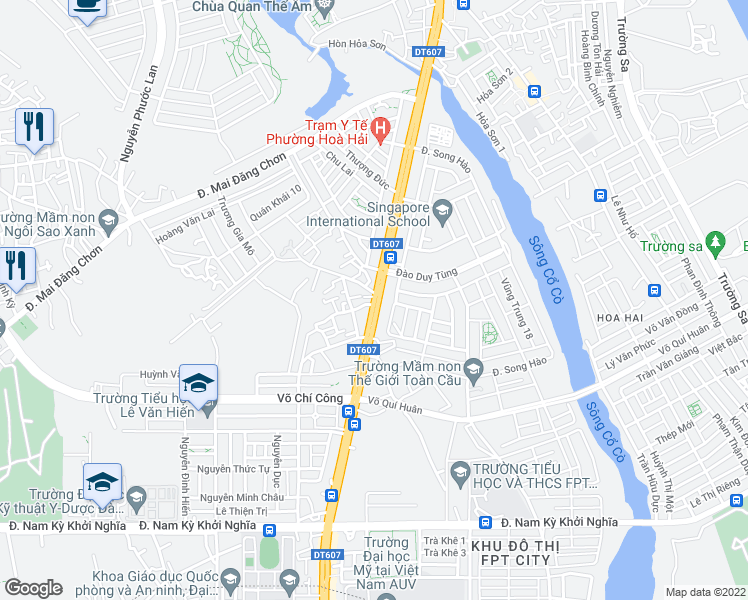 map of restaurants, bars, coffee shops, grocery stores, and more near Trần Đại Nghĩa in Ngũ Hành Sơn