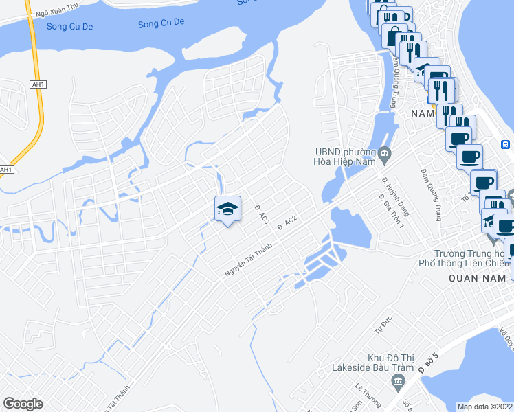 map of restaurants, bars, coffee shops, grocery stores, and more near Unnamed Road in Liên Chiểu