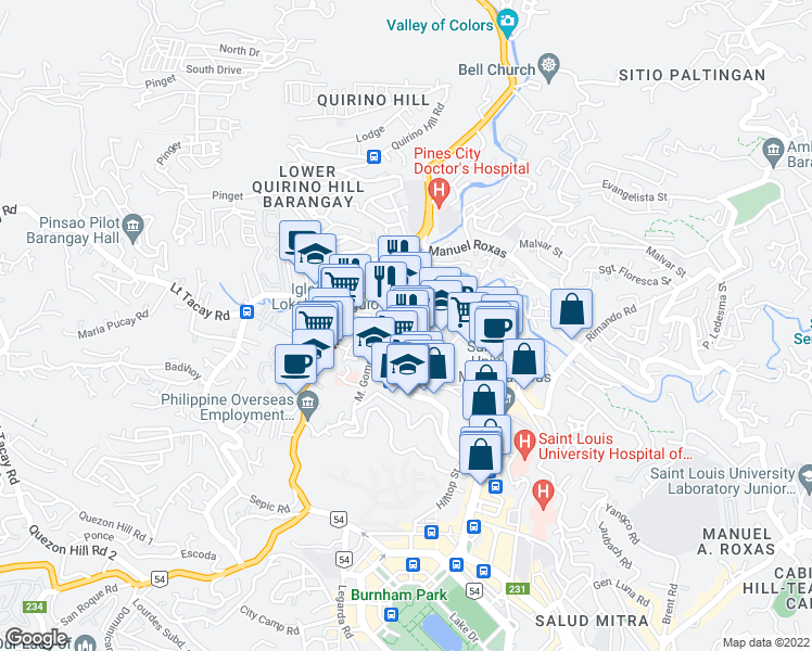 map of restaurants, bars, coffee shops, grocery stores, and more near Magsaysay Avenue in Baguio City