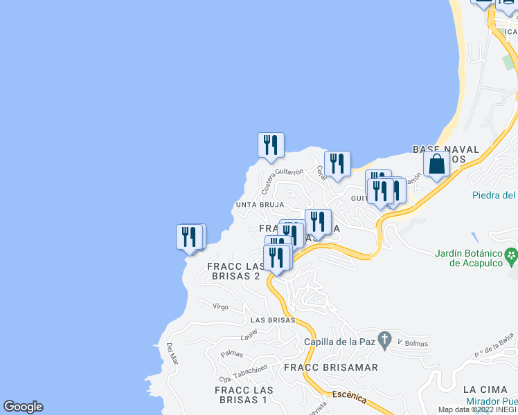 map of restaurants, bars, coffee shops, grocery stores, and more near in Acapulco