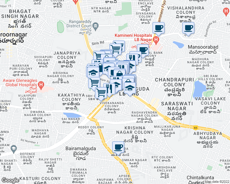 map of restaurants, bars, coffee shops, grocery stores, and more near LB Nagar Circle in Hyderabad