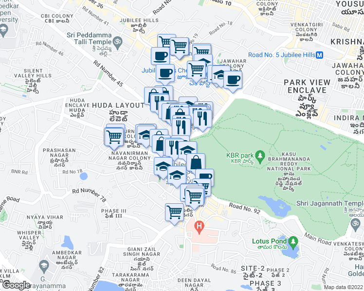 map of restaurants, bars, coffee shops, grocery stores, and more near Road Number 1 in Hyderabad