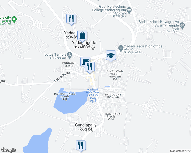 map of restaurants, bars, coffee shops, grocery stores, and more near Laxmi Takies Road in Yadagirigutta