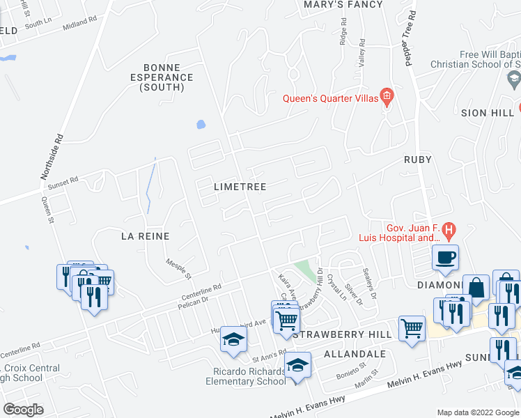 map of restaurants, bars, coffee shops, grocery stores, and more near Unnamed Road in Christiansted