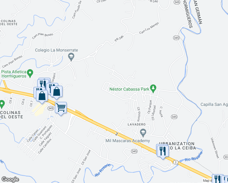map of restaurants, bars, coffee shops, grocery stores, and more near in Lavadero