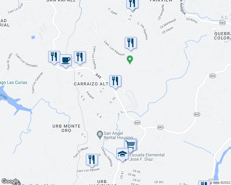 map of restaurants, bars, coffee shops, grocery stores, and more near in Trujillo Alto