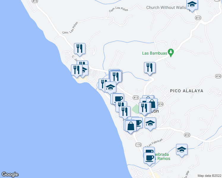 map of restaurants, bars, coffee shops, grocery stores, and more near d4 Calle Cambija in Aguada