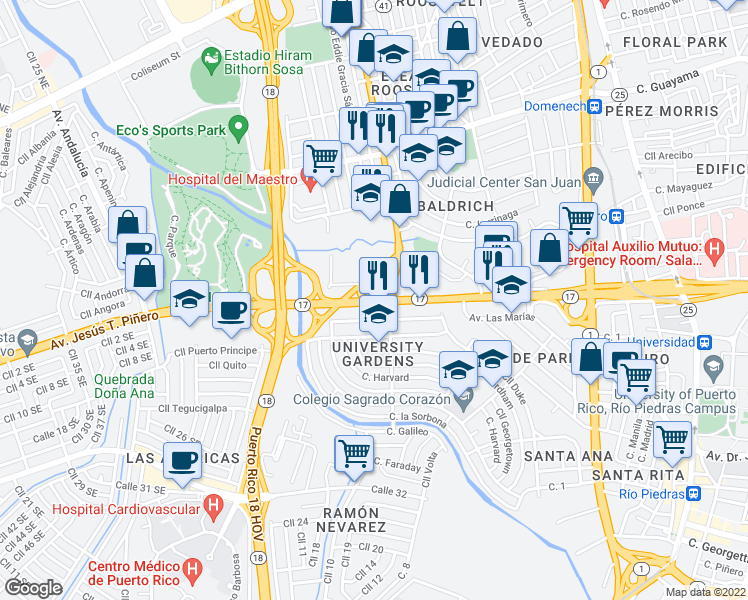 map of restaurants, bars, coffee shops, grocery stores, and more near 500 Avenida Jesús T. Piñero in San Juan