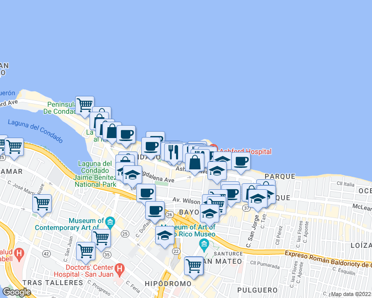 map of restaurants, bars, coffee shops, grocery stores, and more near 1 Calle Candina in San Juan